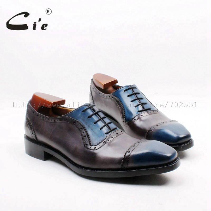 cie Square Toe Cap Toe Lace-up Oxford 100% Geniune Calf Leather Breathable Dress Men's Shoe Goodyear Welted Grey Patina OX720 купить часы haas lt cie mfh211 zsa