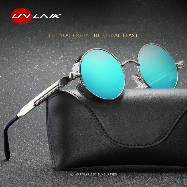 813afaeea195 UVLAIK Gothic Steampunk Sunglasses Round Metal Men Women Punk Sun Glasses  Retro Vintage Goggles UV400 Mirror
