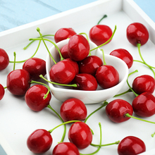 Reusable Simulation Small Cherry Cherries Artificial Red Fruit Model for Photography Studio Photo Background Mini Accessories