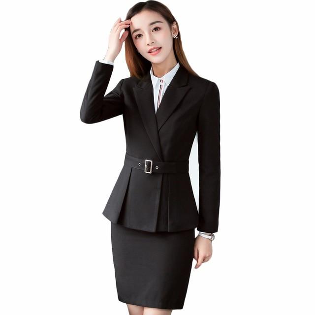 2018 New Uniform Designs 2 Piece Set Office Ladies Skirt Suit Women