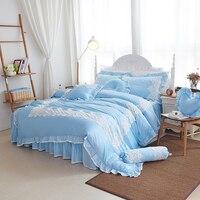 2019 New Luxury Silk Bedding Set Cotton Duvet Cover Bed Set Pillowcase 4Pcs Queen king size Bed skirt set blue lace bedclothes