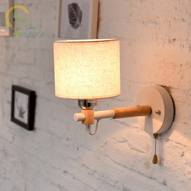 Nordic Wood Wall Lamps Modern Wall Mounted Luminaire Fabric Lampshade Wall Sconce For Bedside Light Bedroom Lighting FixturesNordic Wood Wall Lamps Modern Wall Mounted Luminaire Fabric Lampshade Wall Sconce For Bedside Light Bedroom Lighting Fixtures