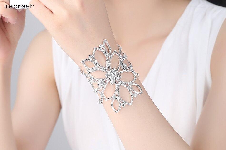 Mecresh Silver Color Crystal Bracelets for Women Floral Bridal Ankle Bracelets & Bangles Wedding Engagement Jewelry SL009 6