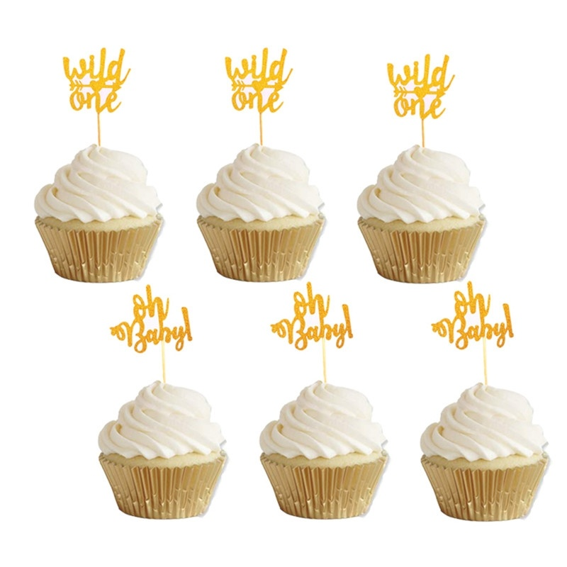 CMGBOBP 10pcs Gold Oh Baby Cupcake Toppers oh boy wild one ...