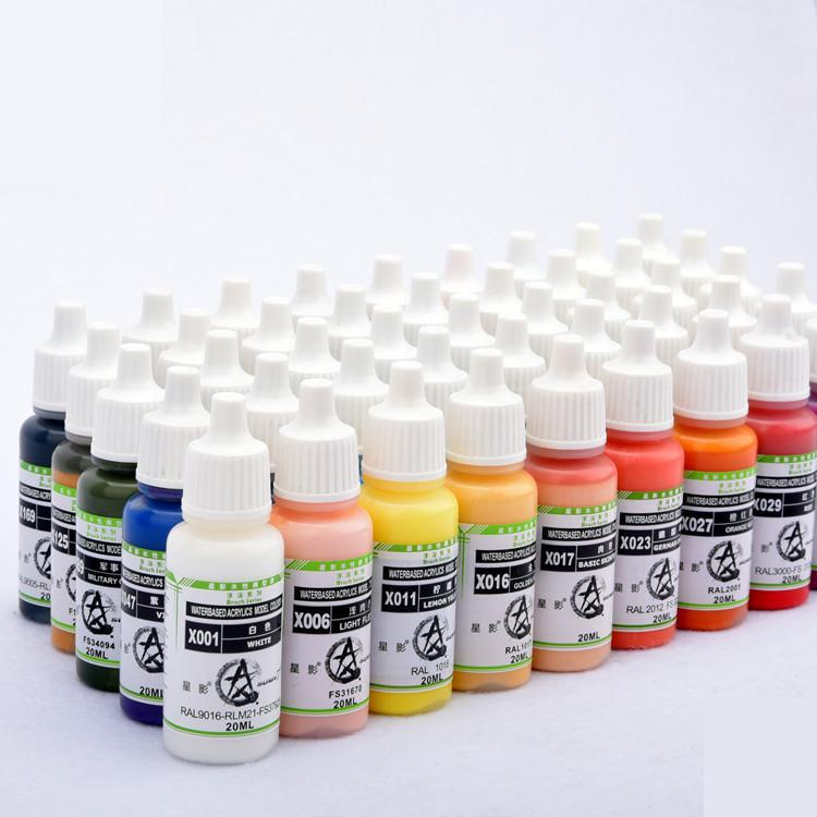 X049-X072 Colors Airbrush Plastic Model Paint  DIY Hand Paitned Non-toxic Acrylic Pigment Clay Coloring Water Based 20ml