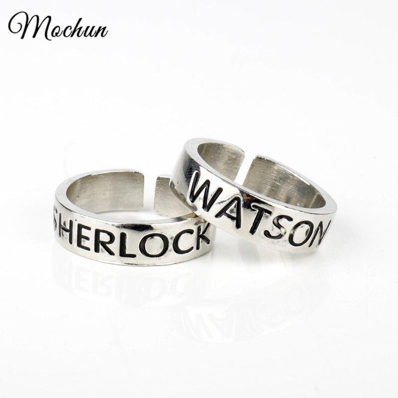 MQCHUN Watson and Sherlock Rings Inspired Sherlock Holmes Friendship Rings Fashion Adjustable Ring Vintage Silver Color Jewelry mariposa en plata anillo