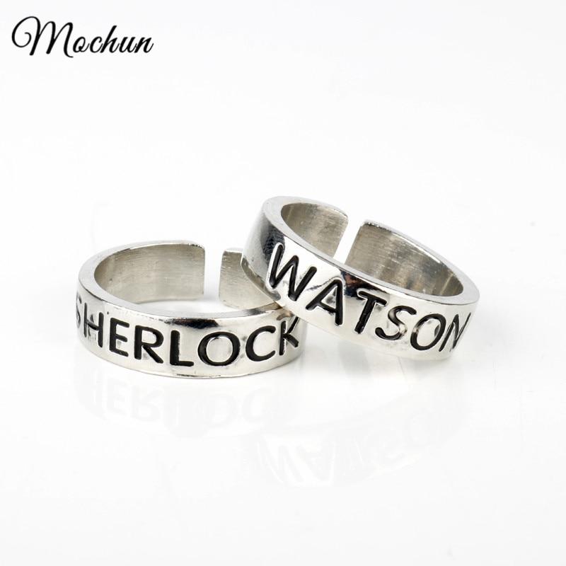 MQCHUN Ватсон и кольца Sherlock вдохновил Шерлок Холмс кольца дружбы Модные Регулируемые кольца Винтаж серебро Цвет ювелирные изделия