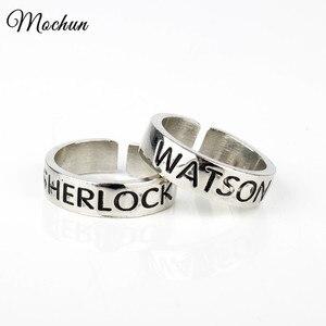 MQCHUN Watson and Sherlock Rings Inspired Sherlock Holmes Friendship Rings Fashion Adjustable Ring Vintage Silver Color Jewelry(China)