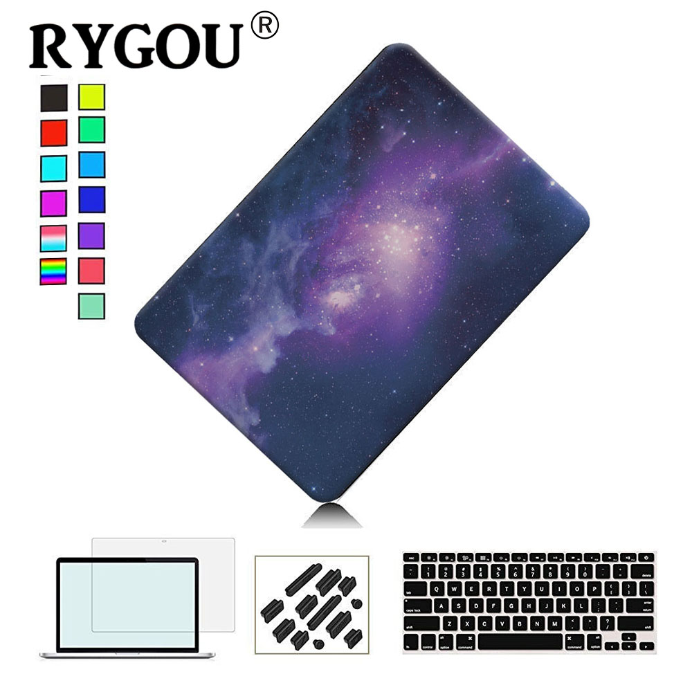 RYGOU Voor Galaxy Graphic Rubberen harde behuizing voor Macbook Pro 13 15 inch Model A1706 A1708 A1278 A1286 Matte Frosted laptophoes
