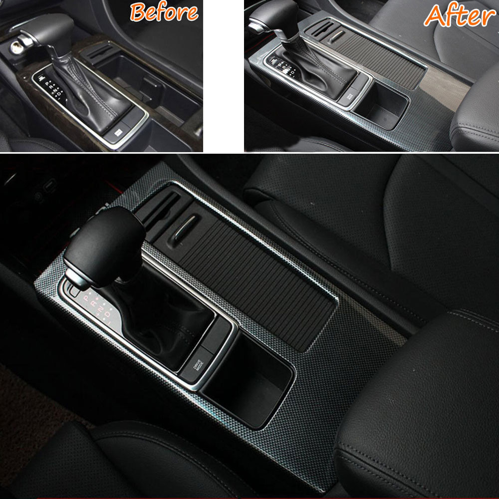 Interior Carbon Fiber Gear Shift font b Box b font Panel Cover Trim Car covers styling