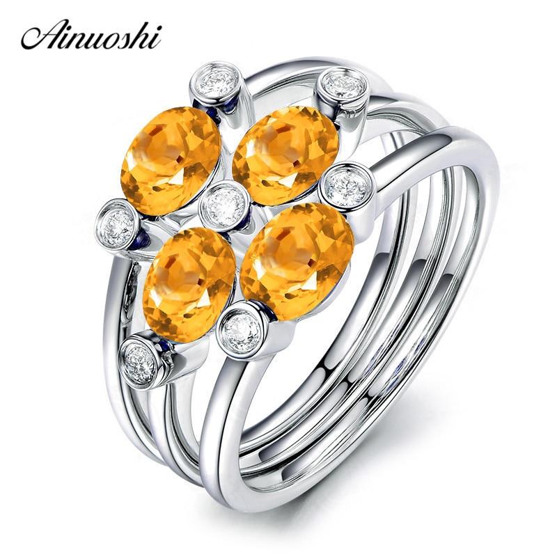 AINUOSHI 3 tartes pierres précieuses anneaux ensemble 1CT ovale coupe naturelle Citrine Pure 925 argent fleur anneaux femmes cadeau fiançailles anneaux de mariage