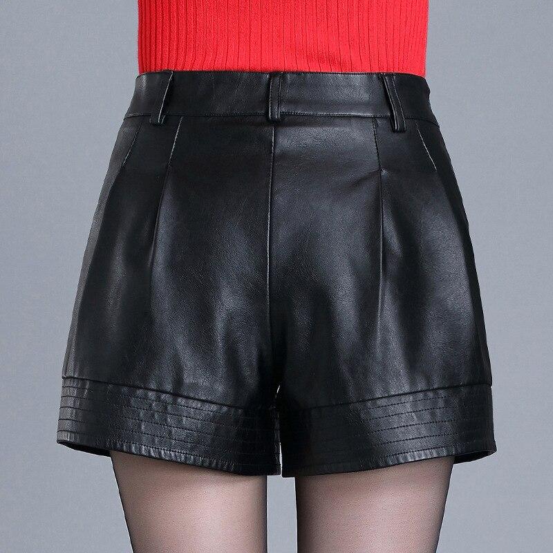 Fashion Women PU leather Shorts Female Loose Fit Draped Sexy Shorts Night Club Mini Short Pants For Female Wide leg Shorts N747