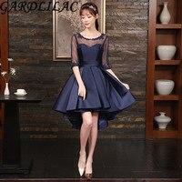 Gardlilac Blue Half Sleeve Hi Low Homecoming Dress Stain Applique Short Graduation Dress Real Picture vestidolongo