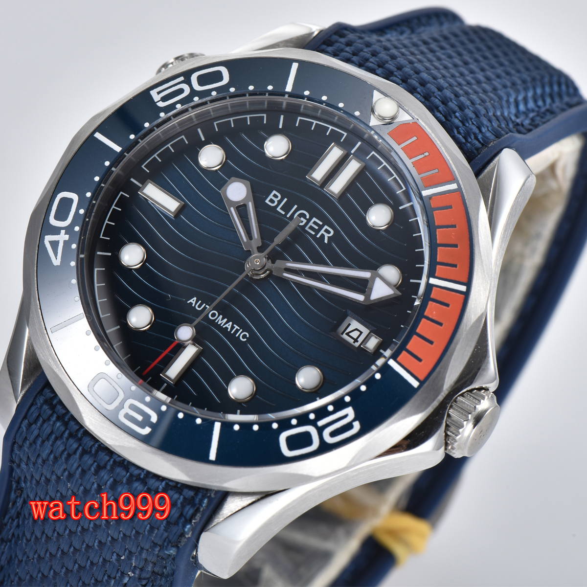 41mm bliger blue dial sapphire glass date ceramic bezel automatic men's casual watch waterproof mechanical watch