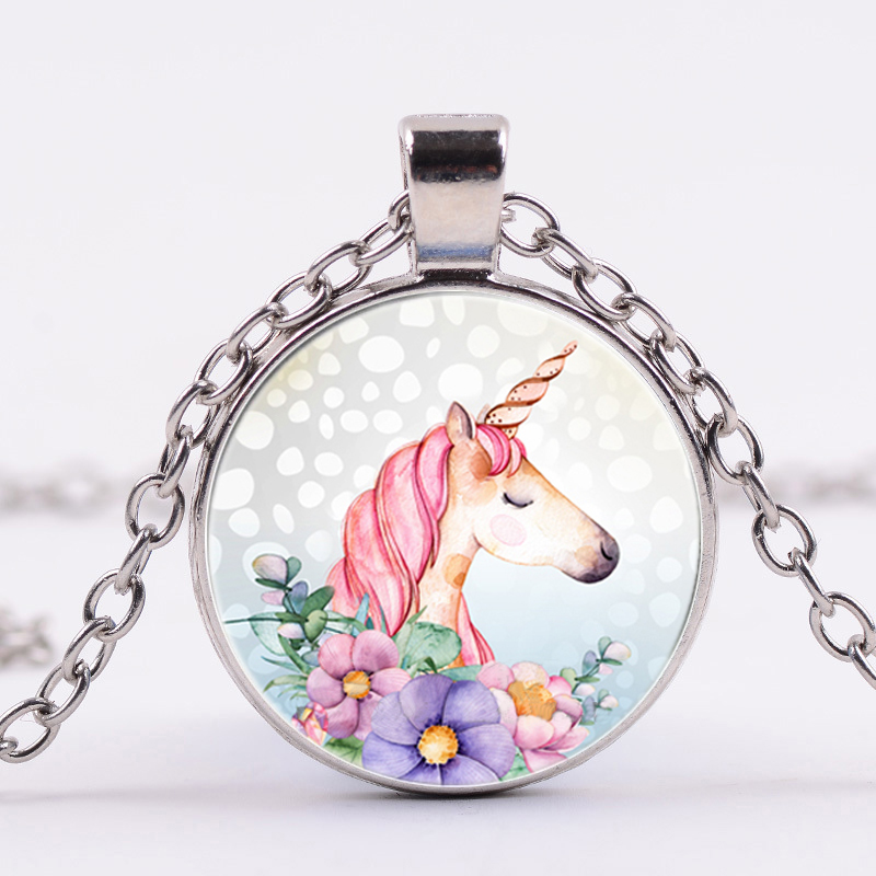 Vintage Flowers Unicorn Horse Pendant Necklace Silver Chain Unisex Jewelry Retro