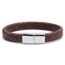 LOULEUR Vintage Wrap Leather Bracelet For Men Women Pulseras Hombre Stainless Steel Magnet Clasps Bracelets & Bangles
