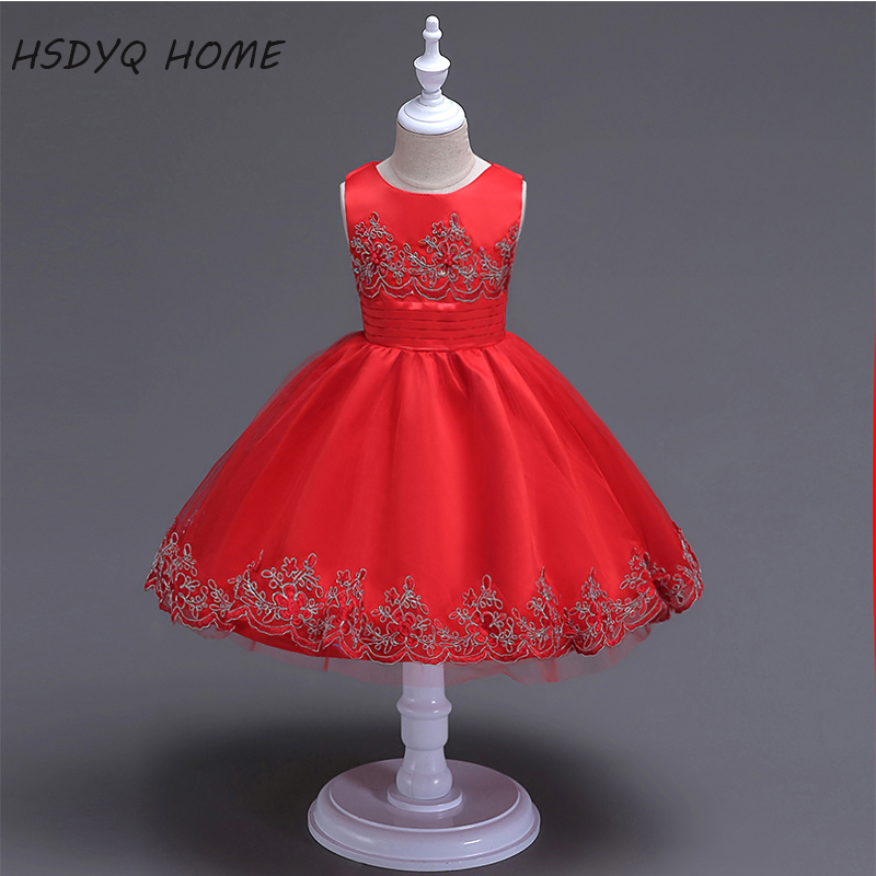 cheap 5 colors   Flower     Girl     Dresses   2017 cheap Kids   Dress   Beautiful New Arrival Children gown real photo