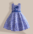6-10Y floral girls dresses blue rose sleeveless kids dress for birthday party Christmas hot