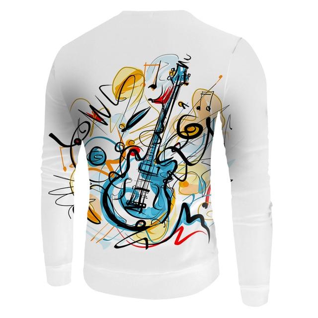 UJWI 2019 3D printed guitar hoodie men and women fashion hip hop graffiti 3D men's hoodie and sweatshirt clothes