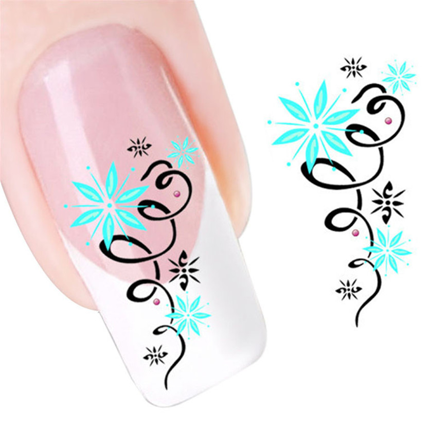 Green Star Flowers Design Nail Tip Art Water Transfers Decal
