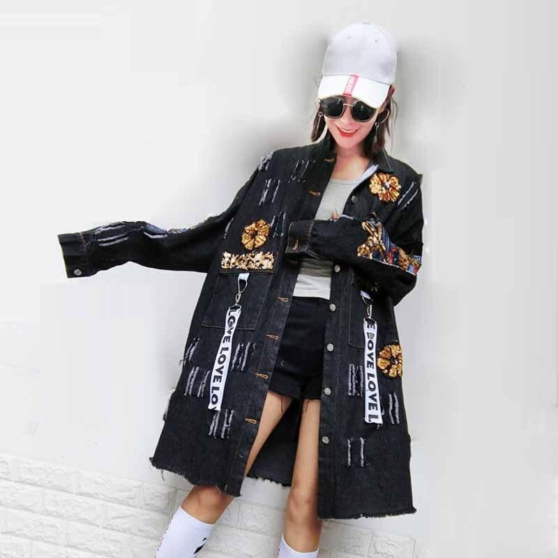 2017 Для женщин джинсовая куртка Блёстки лук повязки панк Бейсбол Куртки одноцветное пальто Мода Boho дамы плюс Размеры хип-хоп милый куртка