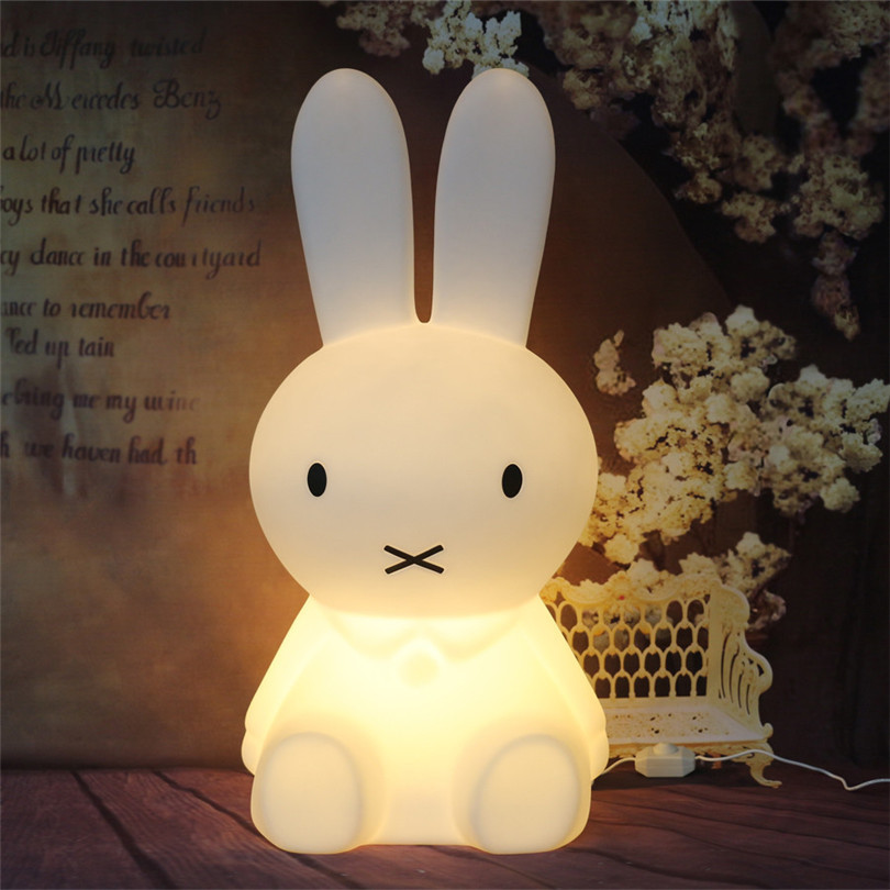 Trecaan 50CM Rabbit Led Night Light Dimmable for Baby Kids Gift Animal Cartoon Desk Table Lamp Bedroom Bedside Baby Toy Light creative cute green cartom car led night light for children baby kids white warm white bedside lamp resin night lamp gift