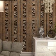 Vintage Wall Paper Wood 3D Wallpaper 3d stone wallpaper wood contact paper Panel papel de parede vintage0.53*10m