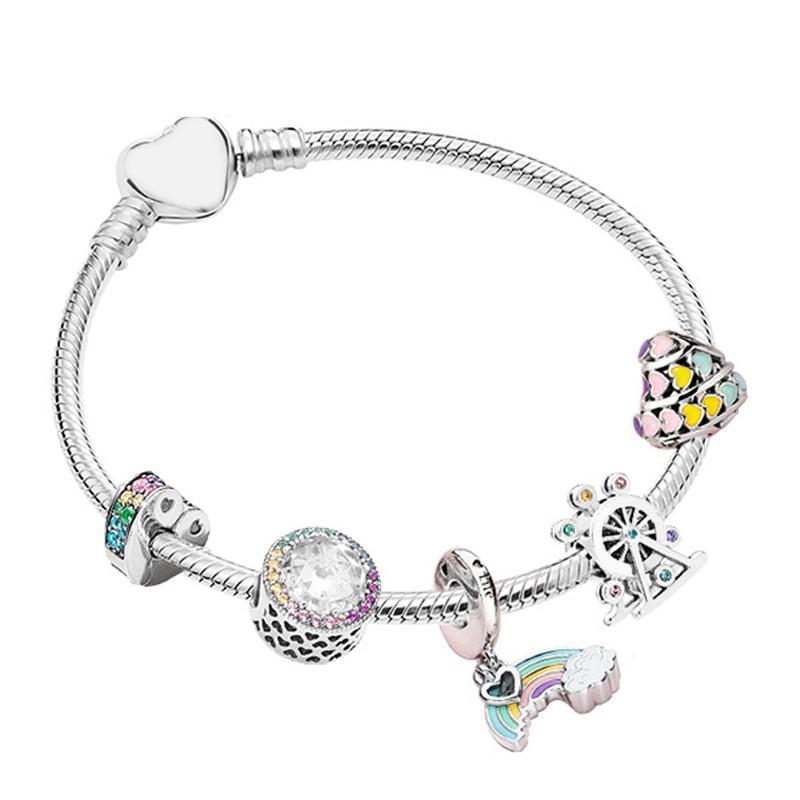 Nouveau 100% 925 argent Sterling magique rêve néon ZT0142 Bracelet chaîne ornements cadeau ensemble Original femmes bijoux charmant cadeau