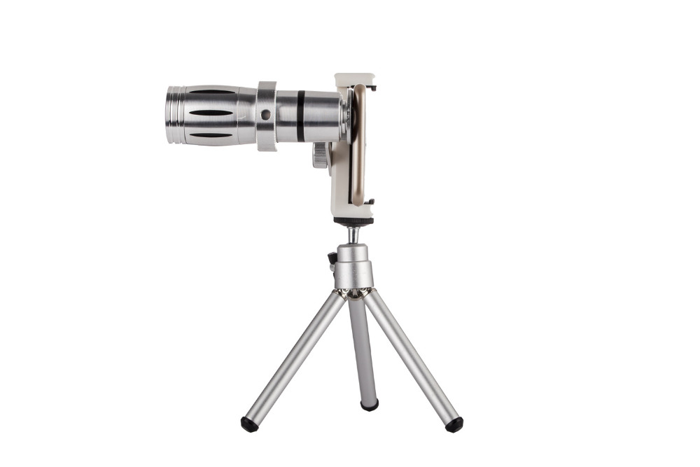 Universal 12X Zoom Mobile Phone Telescope Lens 4in1 lens Telephoto External Smartphone Camera Lens for iPhone Sumsung HTC Huawei 14