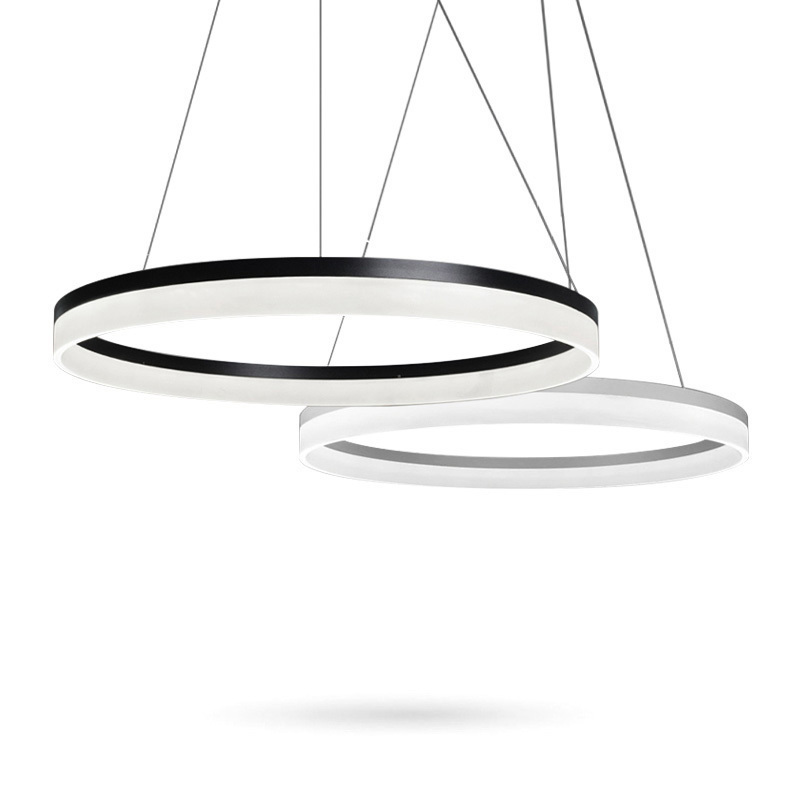 Modern LED Pendant Lights Fixtures For Living Room Restaurant Dining Decor Suspension Black Rings Hanging Lamp Dimmable Lustre