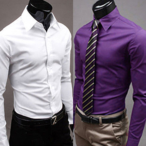 2017 New Men's Fashion Casual Solid Candy Color Long Sleeve Slim Fit Dress Shirt Top(China)