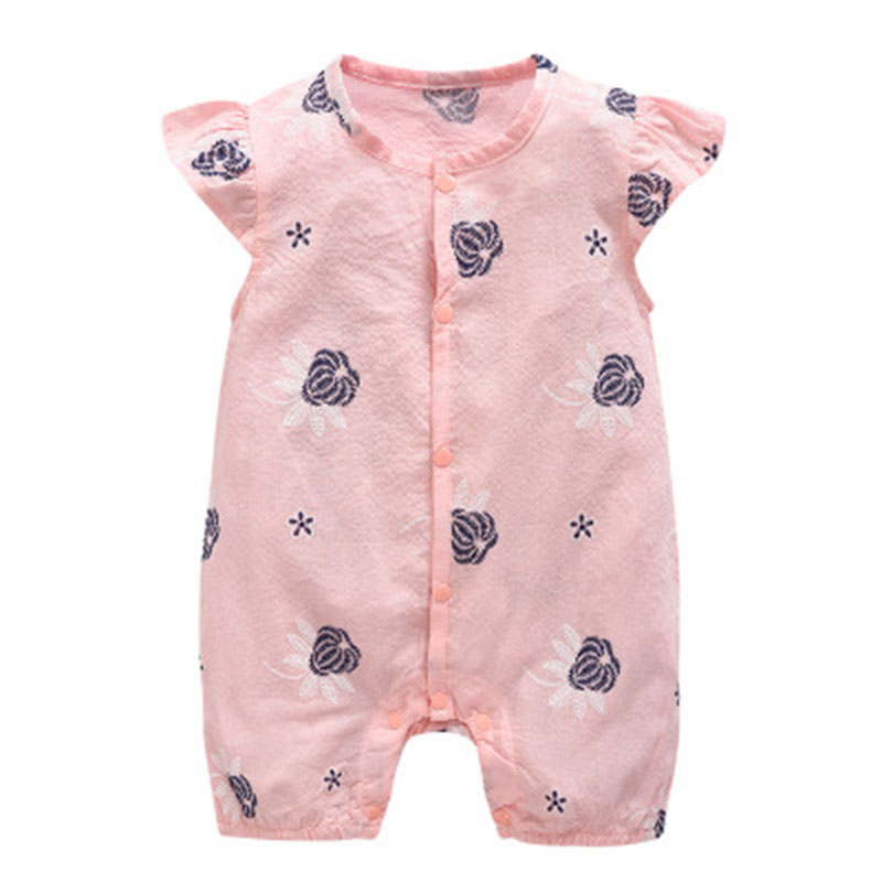 2018 Newborn Summer Baby Girl Fly Short Sleeve Tracksuit New style Flowers Breathable Thin Clothes Toddler Romper Infant Outfits newborn infant baby boy girl clothes long sleeve printing romper toddler baby cotton summer one piece outfits