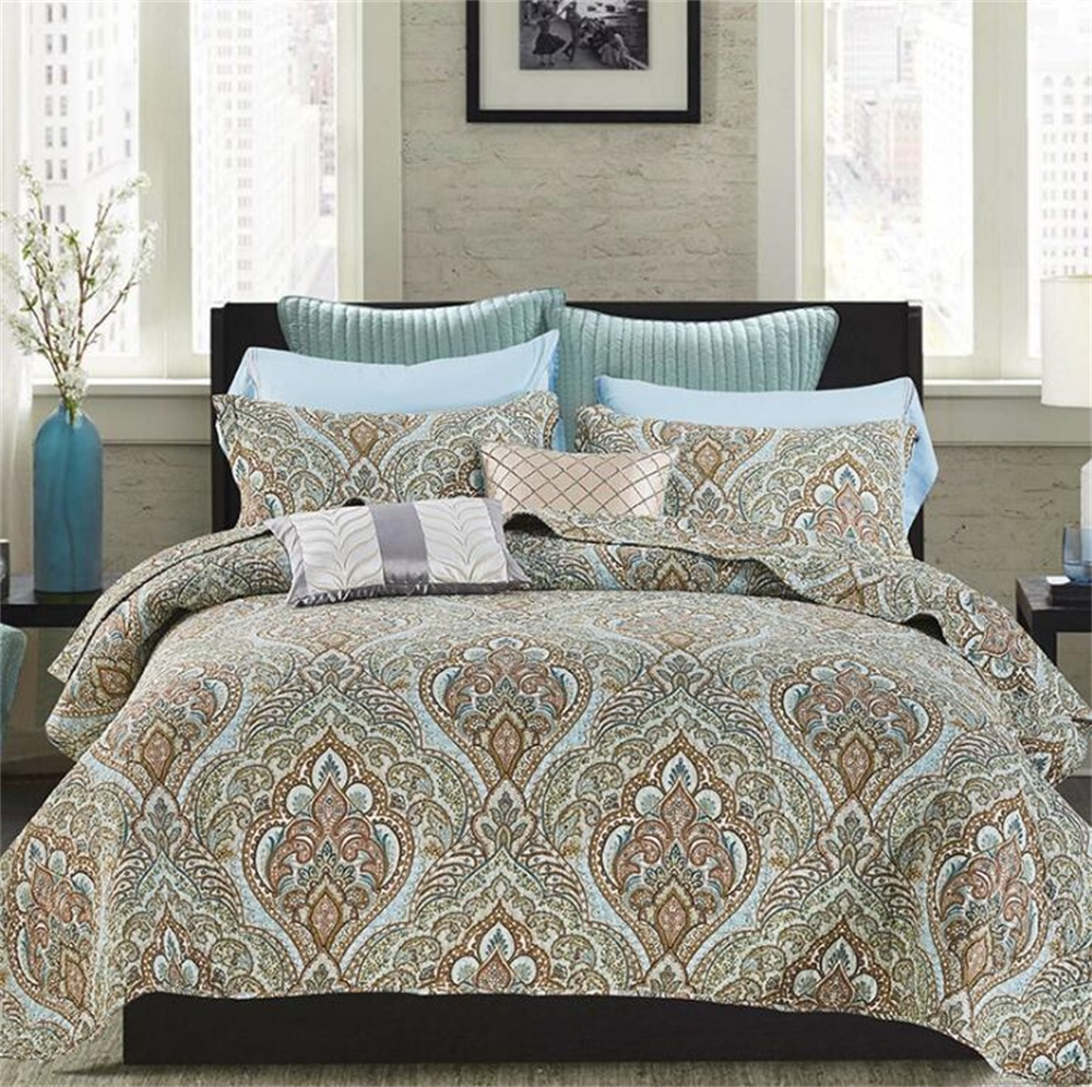 Three piece Set European and American Printed Cotton Washed Bed Cover Home Textile Ethnic Summer Quilt 90.55 x98.43 Inch Queen