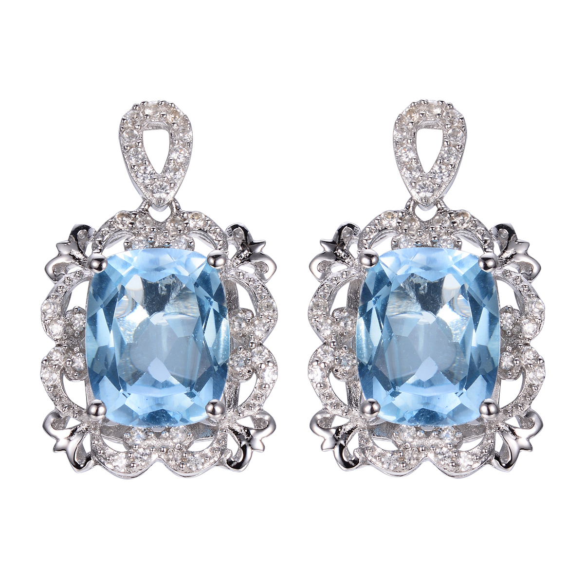 Women Diamond Drop Earrings Costume Jewelry 925 Sterling Silver Engagement Natural Blue Topaz European Style Ornaments In From