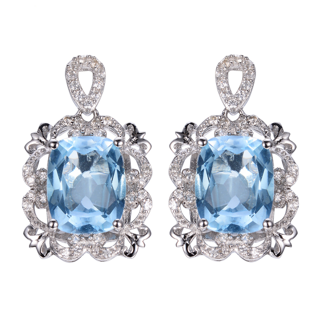Women Diamond Drop Earrings Costume Jewelry 925 Sterling Silver Engagement Natural Blue Topaz European Style Ornaments