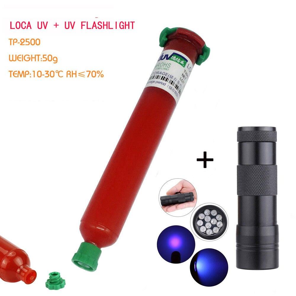 Più nuovo TP-LOCA UV liquido ottica trasparente colla adesiva UV per touch screen samsung galaxy iPhone + 12 LED UV che cura luce