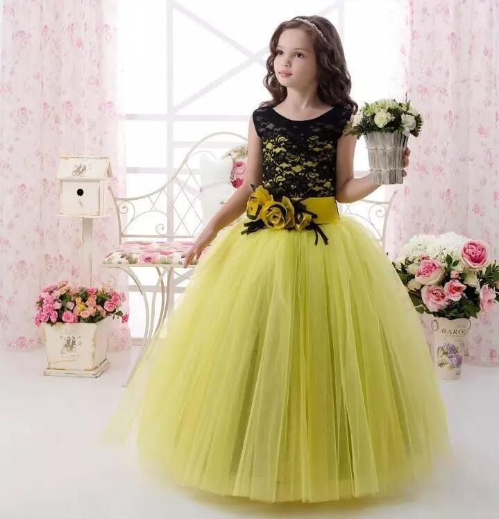New Cute Green Tulle Baby Girl Birthday Dress Lace with Sash Girls Pageant Gown Flower Girls Dress Ball Gown Custom Made new cheap flower girl dress 2017 actual photos ball gown for girls lace tulle with sash pageant gown first communion dress