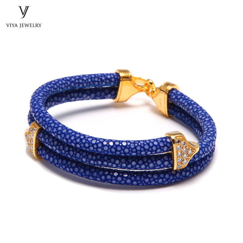 High end Christmas Gift To Basketball Fans Classy Blue Stingray Leather Bracelets Bangles Luxury 925 Sterling Silver Bracelet