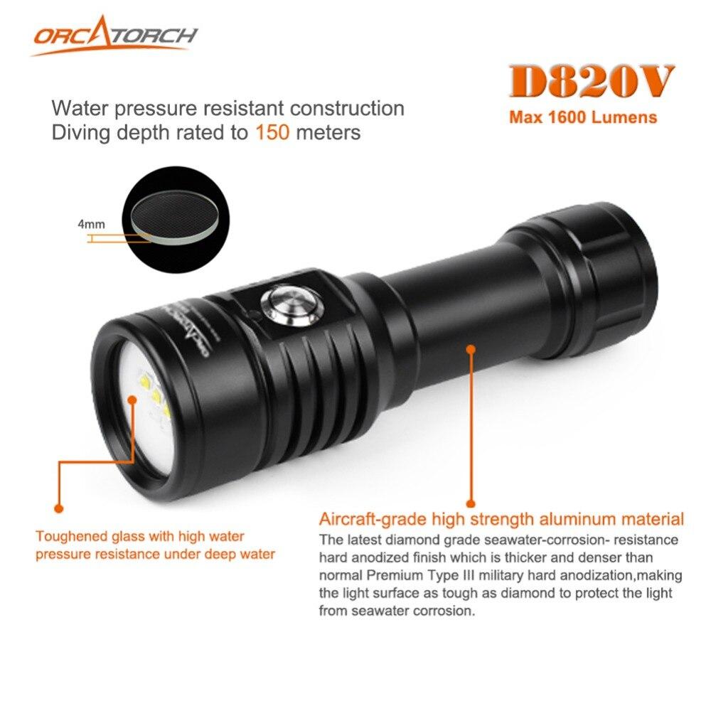 Светодиодный фонарик для подводной съемки, видеокамера, тактический фонарик D820v, 120 градусов, Белый УФ красный светодиодный фонарь - 3