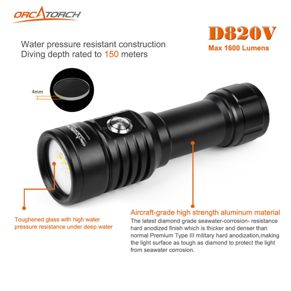 LED Diving Flashlight Underwater Photography Video Camera Tactical Flashlight D820v 120 Degrees White UV Red LED Lanterna Torch - 3