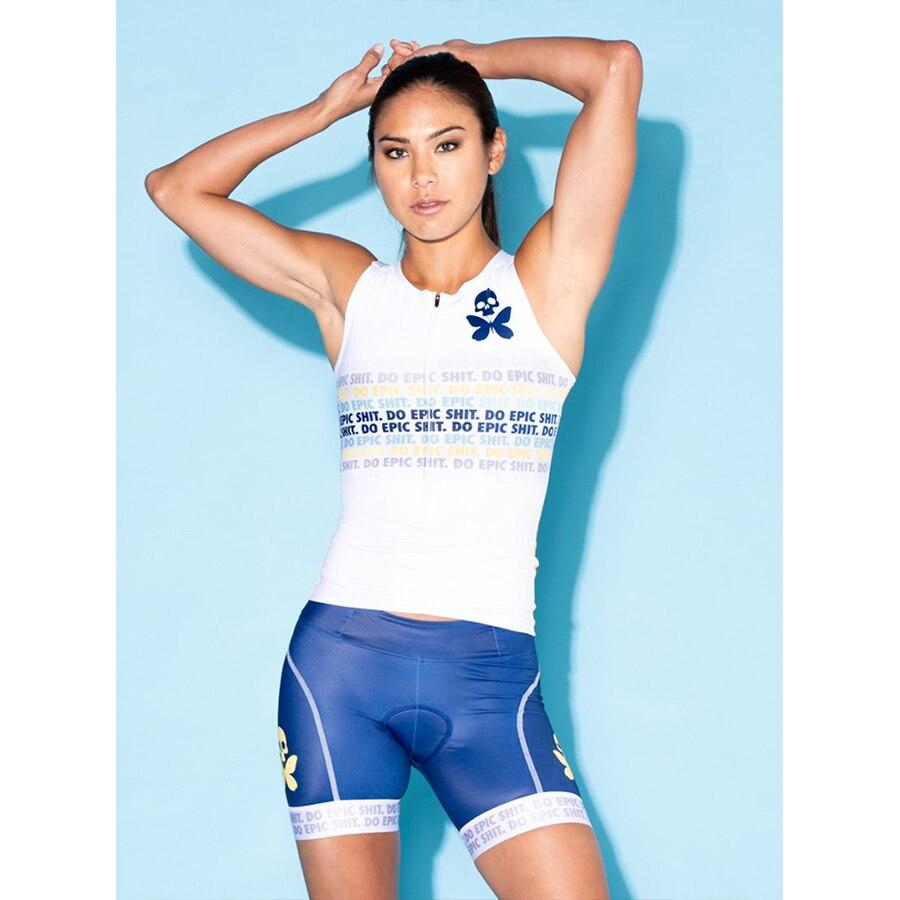 Été 2019 à manches courtes femmes cyclisme uniforme costumes femme vélo vêtements Kit vtt vêtements vélo Jersey Gel Pad bavette Shorts ensembles - 3