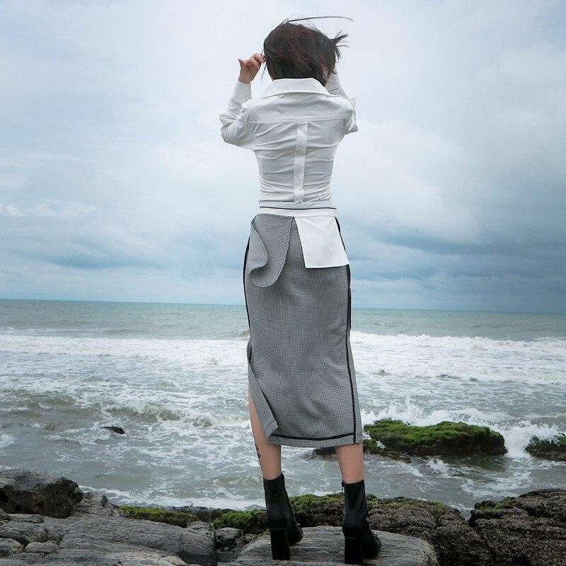 Fente Jupes Black Couleur Hit Plaid Patchwork Tunique Vêtements Mode Midi Skirt Casual Haute 2018 Grande Taille Jupe Twotwinstyle Automne TwnxR0qIXx