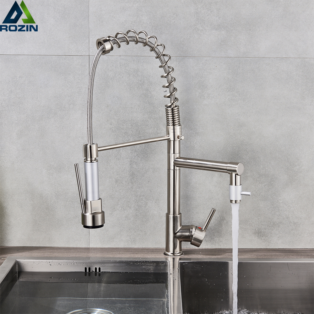 Brushed Nickel Spring Kitchen Faucet Swivel Side Sprayer Dual Spout Kitchen Mixer Tap Kitchen Sink Faucet 360 Rotation