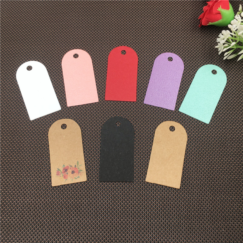 200pcs New Style best -selling Colorful Cute Shape Natural Kraft Price Tag Gift Packing Box Show Card Two Size Choose image