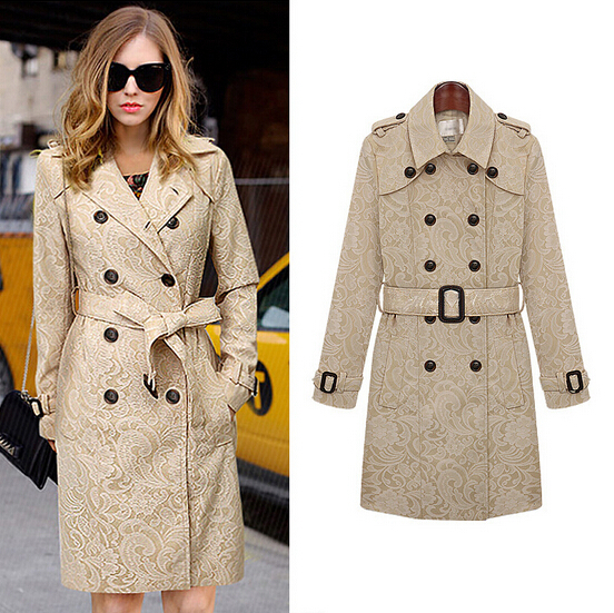 NEW 2014 European Desigual Brand Women Beige Lace Trench Coat ...