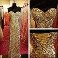 Verdadeiro Amostra Sweetheart Bainha Lace Up Back Side Slit Pavimento Comprimento Longo vestido de Lantejoulas de Ouro Vestidos de Baile Com Cristais Top MM14403