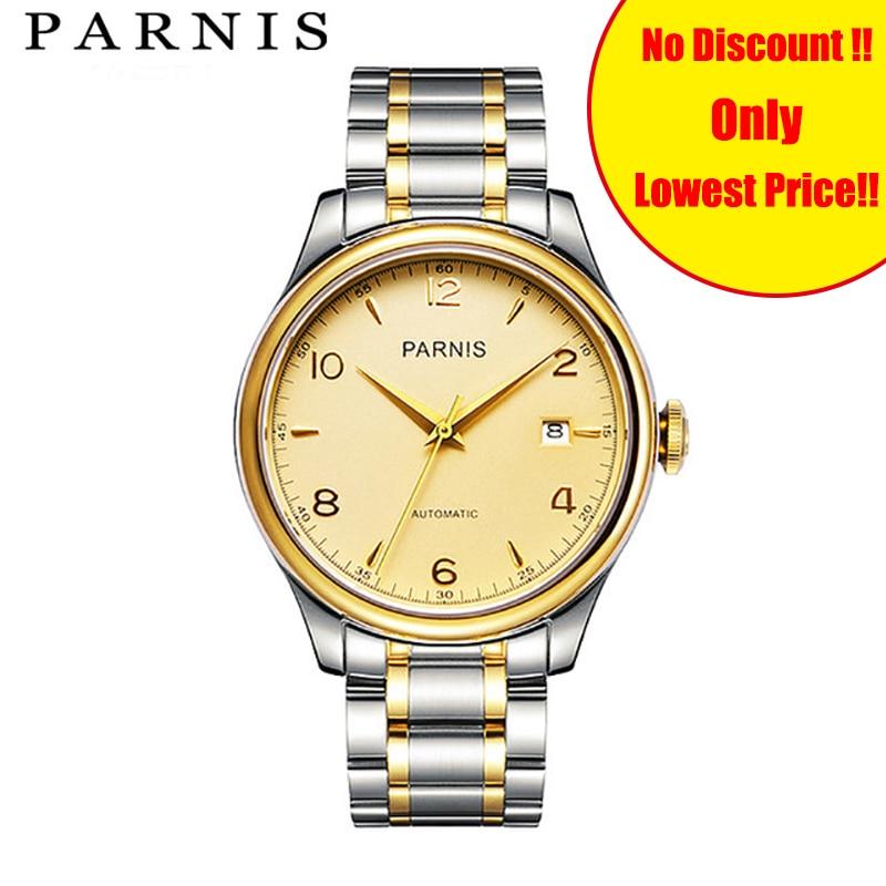 38mm Parnis Watches Gold Steel Strap Mechanical Wrist Watch montre homme Japan Miyatota Sapphire Crystal Clock