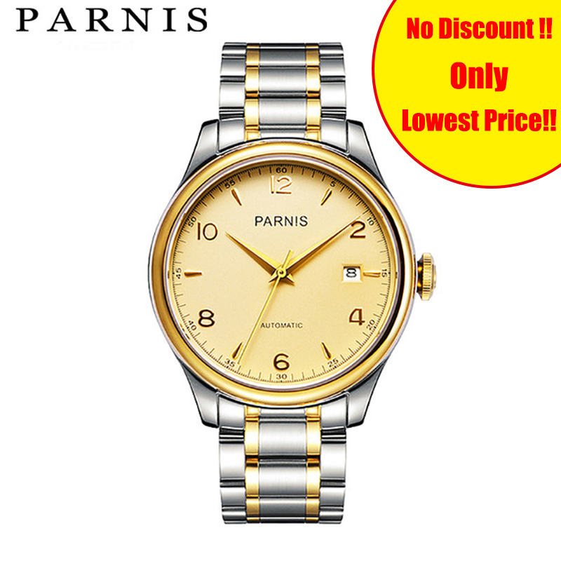 38mm Parnis Watches Gold Steel Strap Mechanical Wrist Watch montre homme Japan Miyatota Sapphire Crystal Clock image