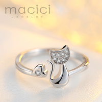 Summer Jewelry 925 Sterling Silver Rings For Women Lovely Cat Sterling Silver Ring K74 1