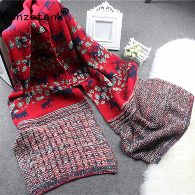 Gonzetank Luxury Brand 2017 New Womens Long Christmas Gift Couple Deer Warm Multifunctional Fashion Scarfs and Shawl 190*37cm